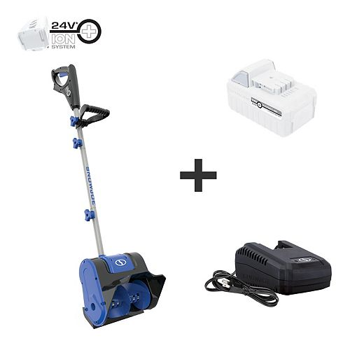 10-inch 24V Cordless Electric Snow Shovel Kit with 5.0 Ah Battery + Charger