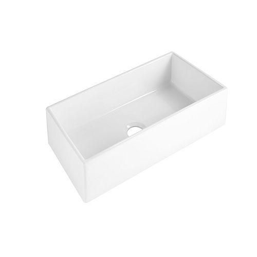 Harper Farmhouse/Apron-Front Fireclay 36 inch Single Bowl Kitchen Sink in Crisp White