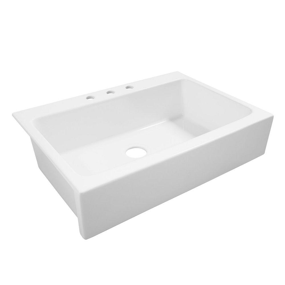 Sinkology Josephine Drop-in Farmhouse Fireclay 33.85 inch 3-Hole Single Bowl Kitchen Sink in Crisp White
