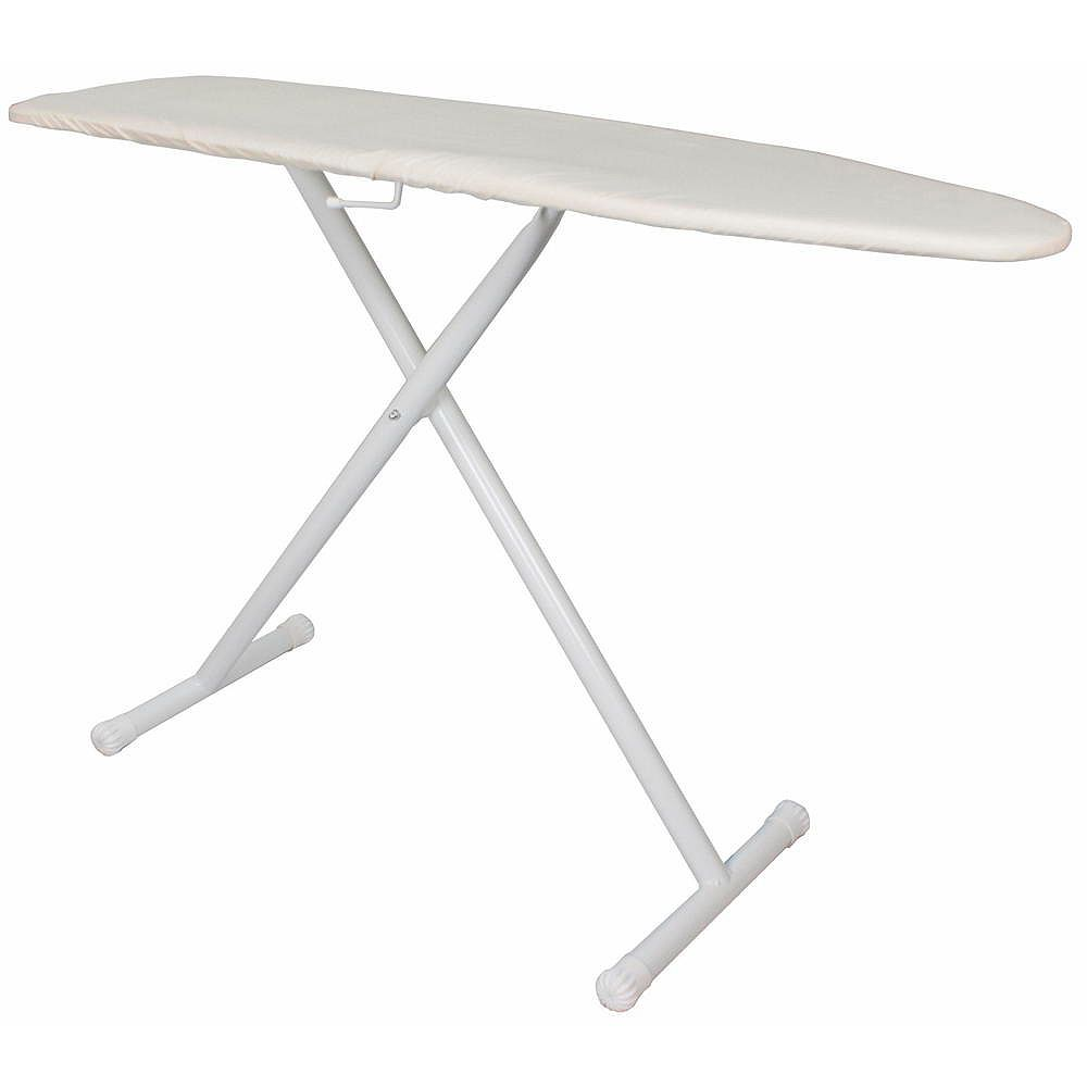 Hospitality 1 Source Table à repasser de base pleine grandeur blanche avec housse et coussinet kaki (4 étuis)