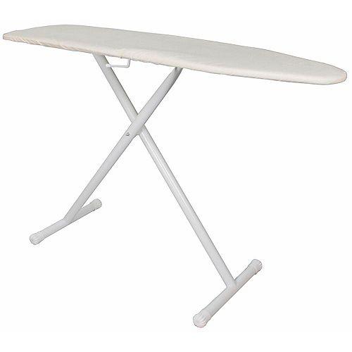 Table à repasser de base pleine grandeur blanche avec housse et coussinet kaki (4 étuis)