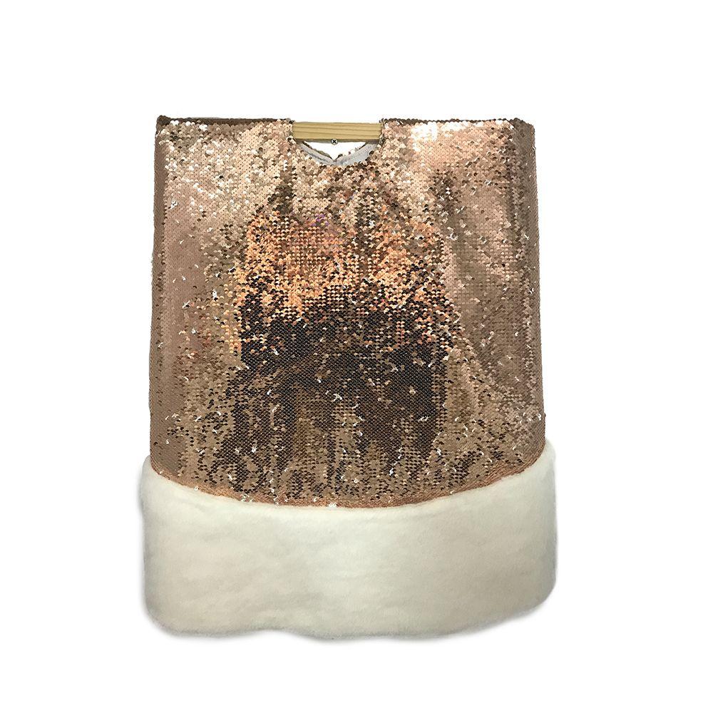 Cache Pied De Sapin Rotin cache-pied paillettes dorées de 1,37 m