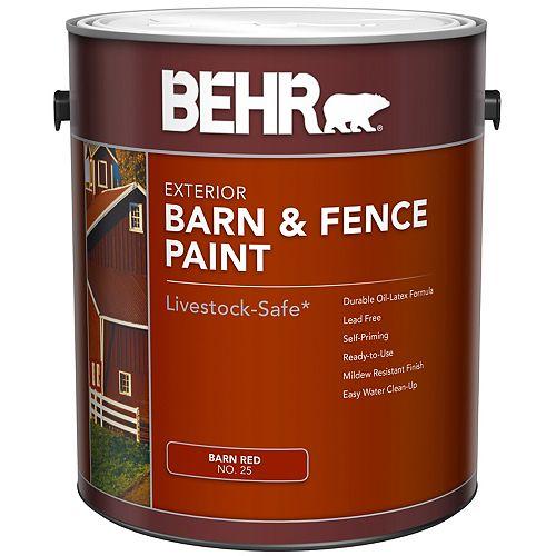 Peinture extérieure pour granges et clôtures - Rouge mat, 3,79 L