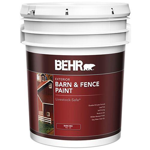 Peinture extérieure pour granges et clôtures - Rouge mat, 18,9 L