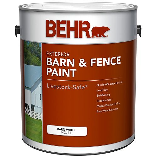 Peinture extérieure pour granges et clôtures - Blanc mat, 3,79 L