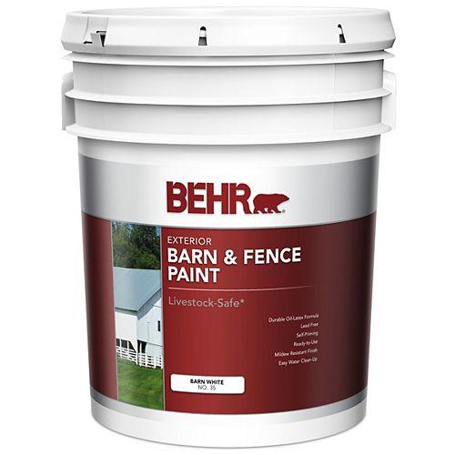 Peinture extérieure pour granges et clôtures - Blanc mat, 18,9 L