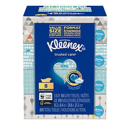 Trusted Care Everyday Facial Tissues, 100 Tissues per Flat Boxes, 8 Pack