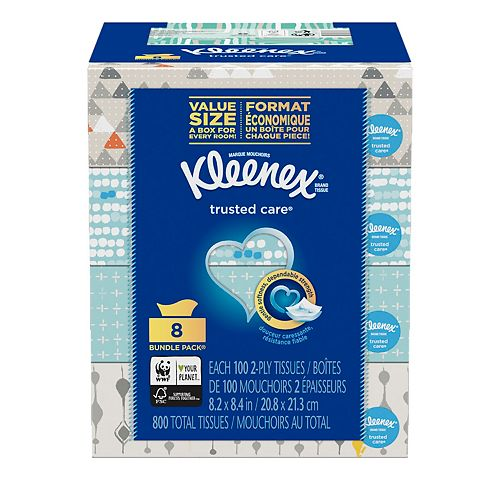 Trusted Care Everyday Facial Tissues, 100-Count (8-Pack)