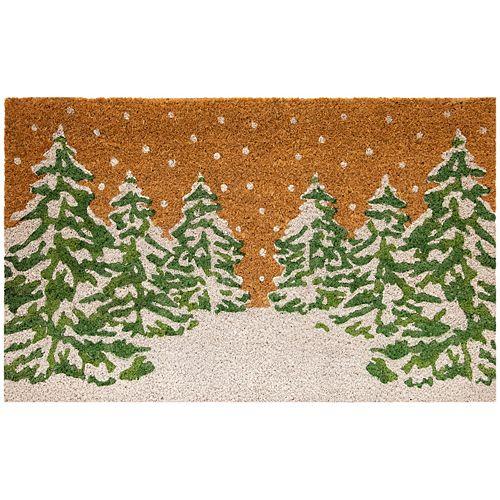 Home Decorators Collection Multy Home Winter Wonderland Trees 18-inch x 30-inch Indoor/Outdoor Rectangular Coir Door Mat