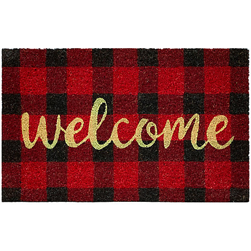 Paillasson rectangulaire MultyHome Welcome d'int./ext., 18pox30po, motif tartan rouge