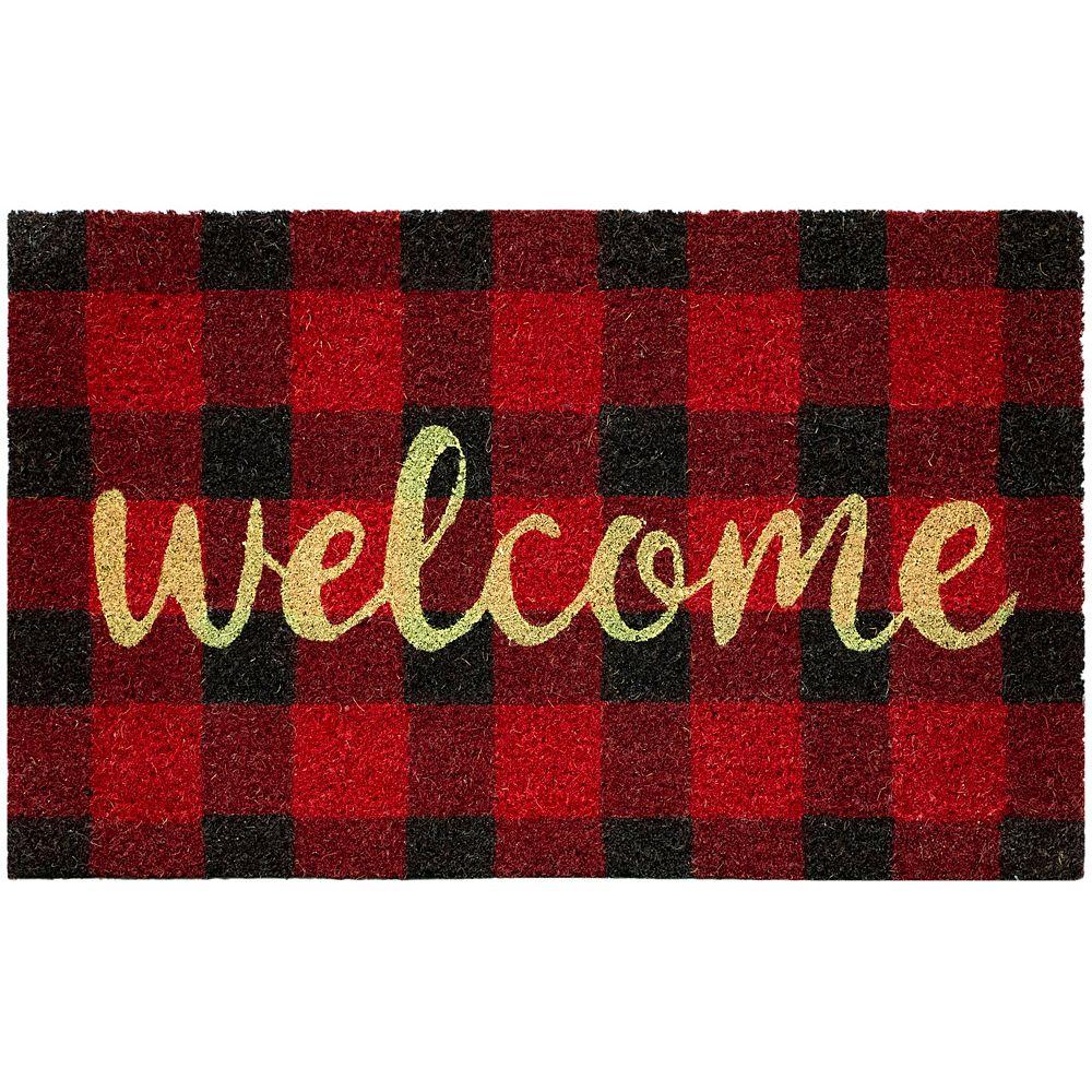 Home Decorators Collection Multy Home Red Plaid with Welcome Script 18-inch x 30-inch Indoor/Outdoor Rectangular Coir Door Mat