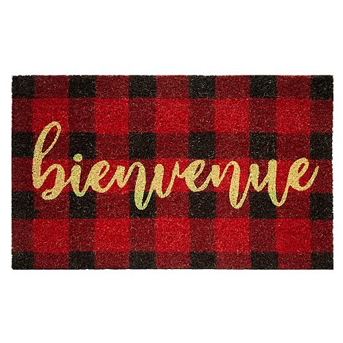 """Home Decorators Collection """"Bienvenue"""" 18-inch x 30-inch Red and Black Plaid Coir Mat"""