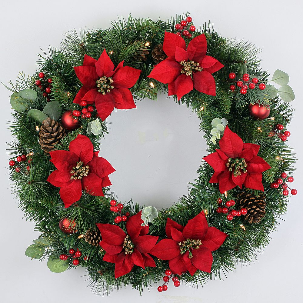 Home Accents 28 Inch Battery Operated Berry Bliss Led Pre Lit Wreath With Timer The Home Depot Canada