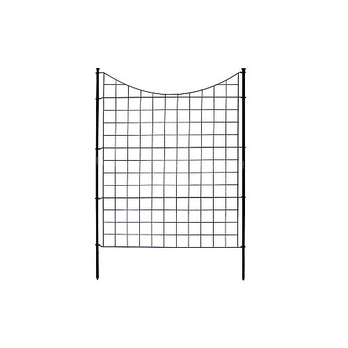 Semi-Permanent Black Metal Garden Fence (42 inch Tall)- 5 pack