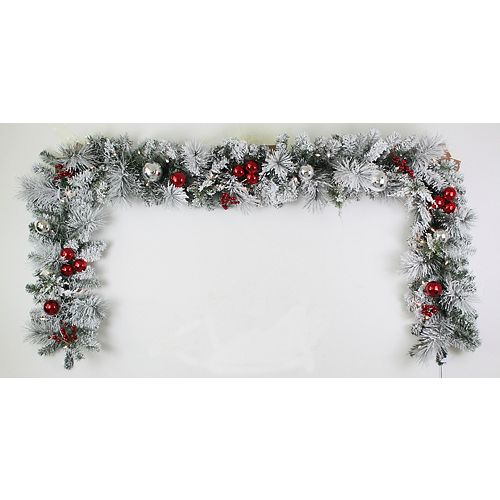 9 ft. 35-Light Battery Operated Warm White LED Pre-Lit Flocked Garland with Timer