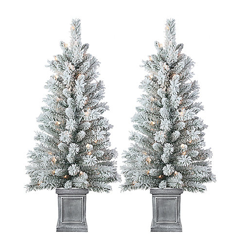 4 ft. 50-Light Clear Pre-Lit Snowy Flocked Potted Christmas Tree (Set of 2)