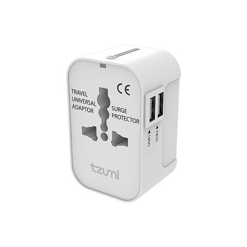 tzumi Universal Travel Adapter with USB Ports for US, EU, UK and AUS