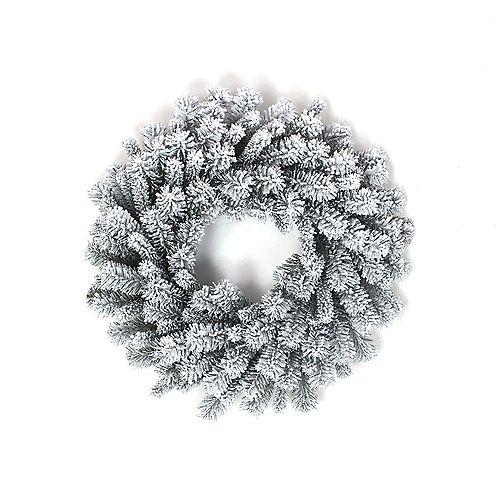 26-inch Flocked Pine Christmas Wreath