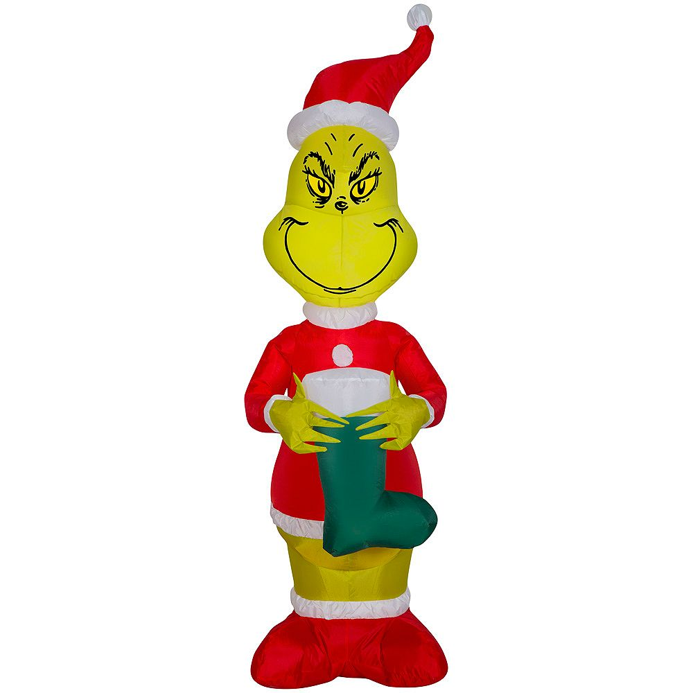 Grinch Small Air Blown Grinch With Stocking Outdoor Christmas Decoration The Home Depot Canada