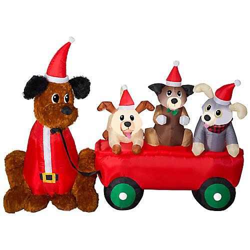 Décoration de Noël d'extérieur Airblown, chiots et chariot, matériaux divers