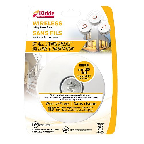 Kidde 10-Year Battery Operated Wireless Interconnect Talking Smoke Alarm with LED Safety Light