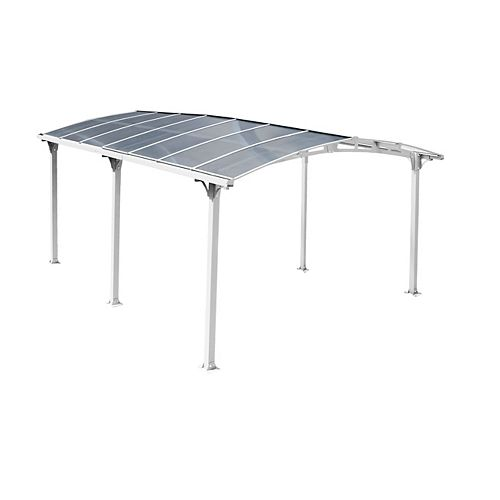 Acay Carport with Gutter in White