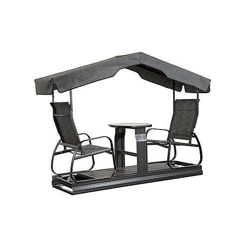 Eco 2-Seater Garden Swing in Dark Grey