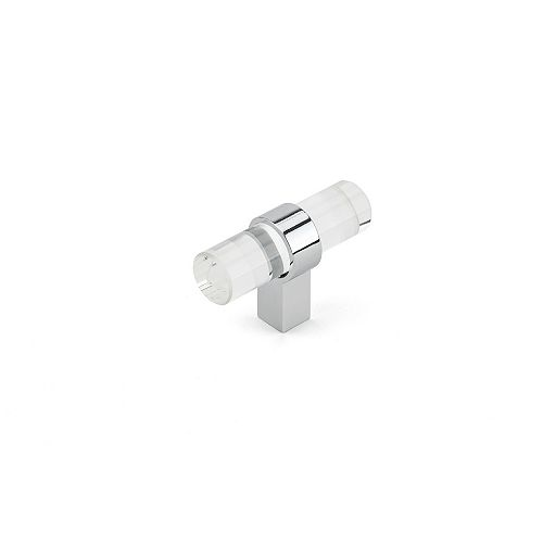 Richelieu Contemporary Glass and Metal Knob, Clear, Chrome Finish, Pomezia Collection
