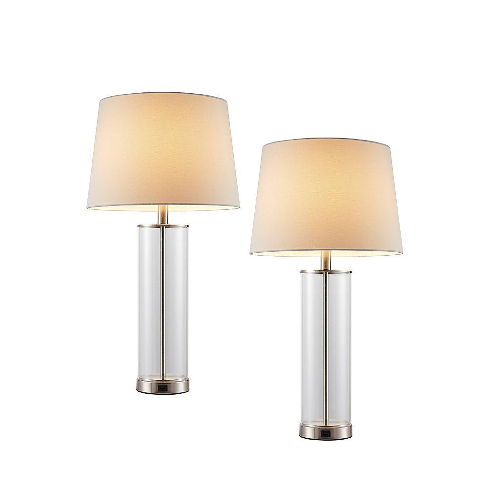 Home Decorators Collection 2 PK Table lampe acrylique avec Port USB