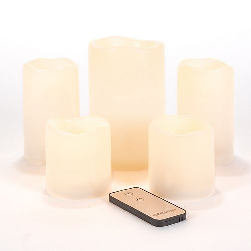 Assorted Set of 5 Flameless LED Candles with Remote