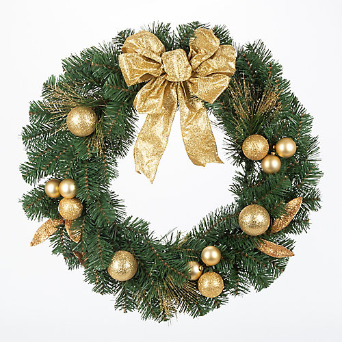 24 inch Mixed Pine Wreath with Gold Accents