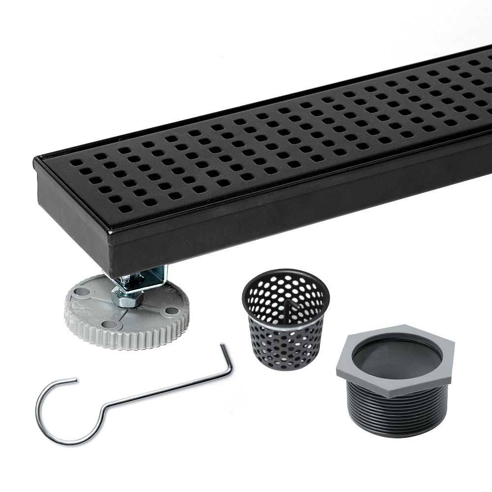 Oatey Designline 28 in. Stainless Steel Linear Shower Drain with Square Pattern Drain Cover in Matte Black