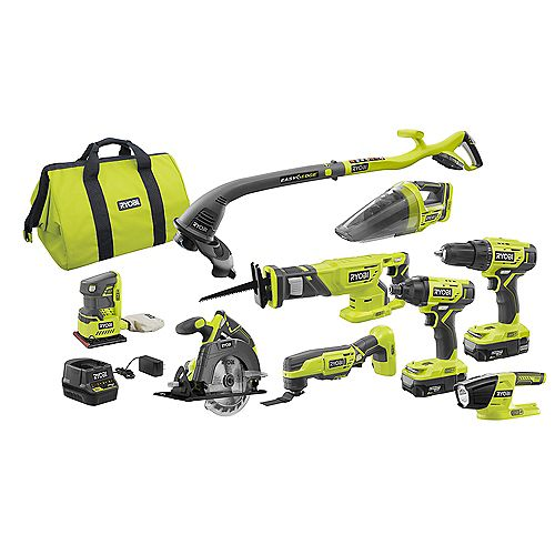 18V ONE+ Lithium-Ion Cordless Combo Kit (9-Tool) with (2) Batteries, Charger and Bag