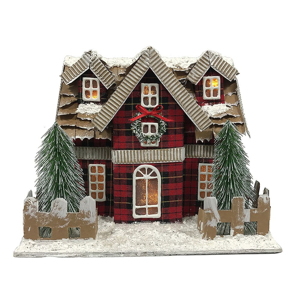 Home Accents 8.5 inch Plaid Snowtop House