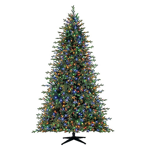 9 ft. 1,300-Light Surebright Colour Changing LED Pre-Lit Northern Gale Spruce Quick Set Christmas Tree