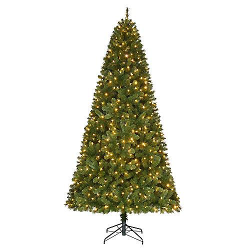 9 ft. 650-Light Indoor Colour Changing Surebright LED Pre-Lit Wesley Spruce Quick Set Christmas Tree
