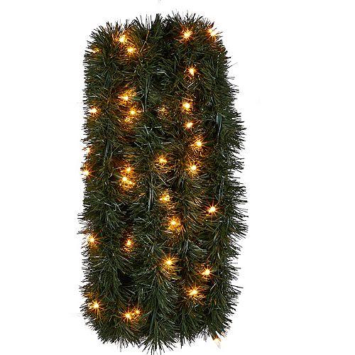 Guirlande pré-illuminée avec 100 lumières incandescentes, intérieur et extérieur, 36 pi
