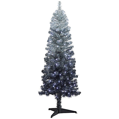 5 ft. Pre-Lit Ombre Tree, 150  Cool White Led Lights