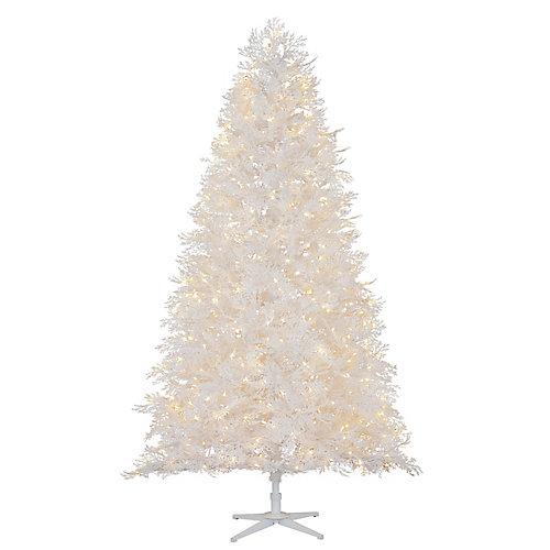 7.5 ft. 600-Light Warm White Micro-Dot LED Pre-Lit Winter Crest Pine Quick Set White Flocked Christmas Tree