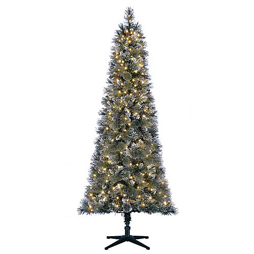 7 ft. 300-Light Warm White LED Pre-Lit Sparkling Pine Frosted Slim Christmas Tree