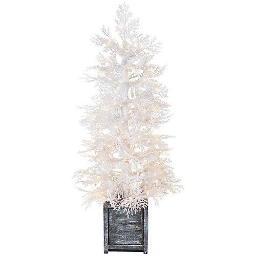 4 ft. Pre-Lit Winter Crest Pine White Flocking Pot Tree, 150 Micro Dot Warm White Led
