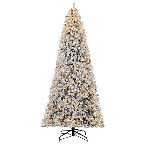 12 ft. 1,100-Light Warm White LED Pre-Lit Lexington Flocked Christmas Tree