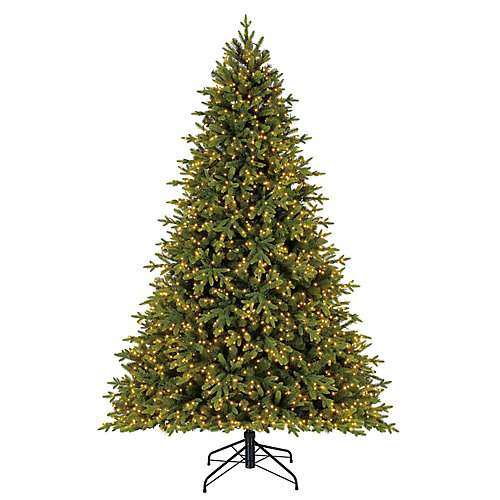 7.5 ft. 2,200-Light Warm White Micro-Dot LED Pre-Lit Swiss Mountain Spruce Quick Set Christmas Tree