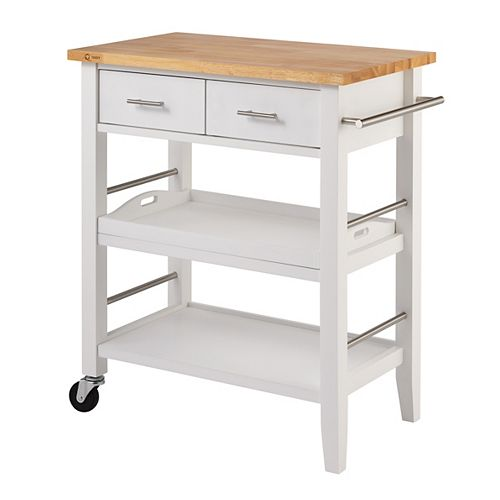 Wood Kitchen Cart w/ Drawers & Tray