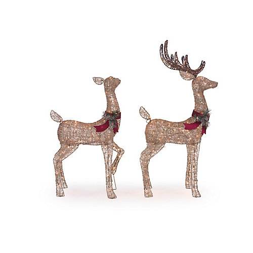 Pre-Lit Deer Christmas Decoration (Set of 2)