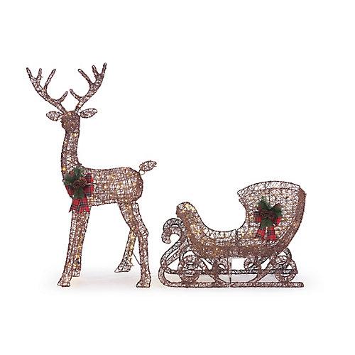 Décoration de Noël d'extérieur, renne et traîneau lumineux à DEL, 4pi6po