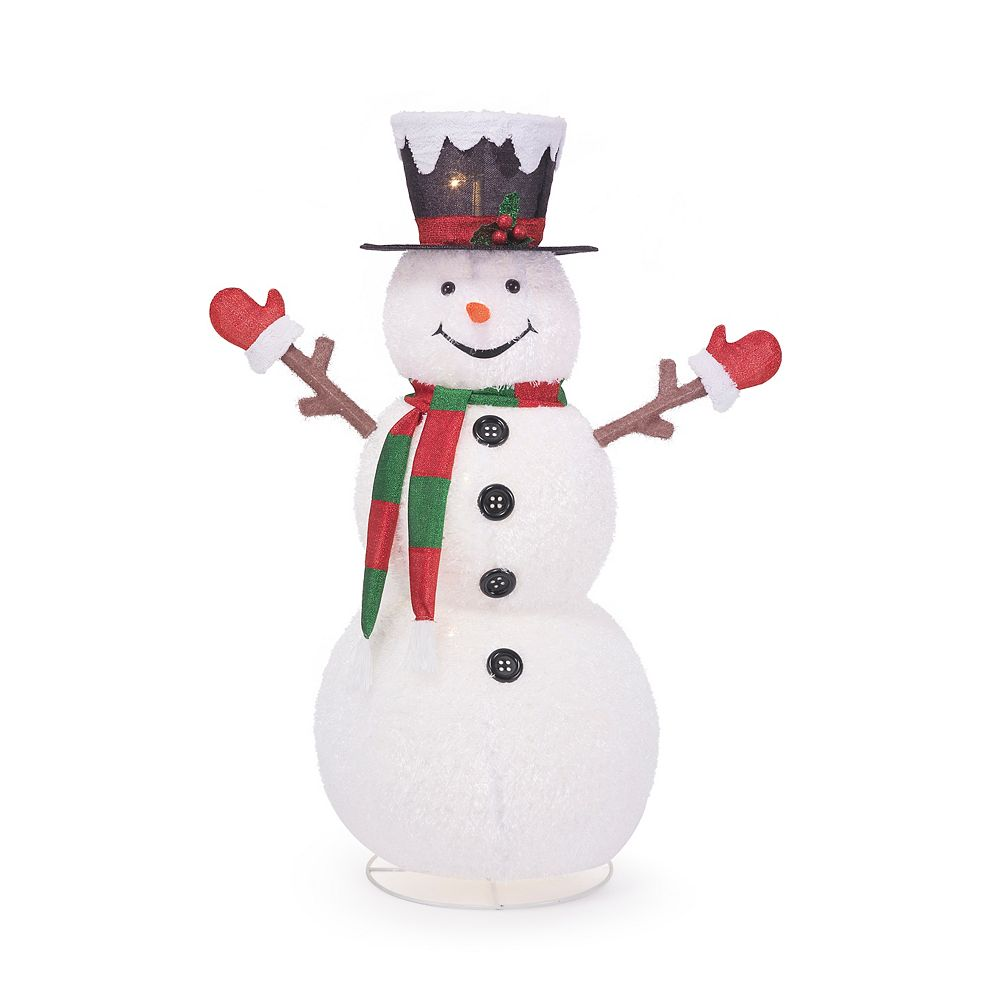 Home Accents 58 Inch Led Lit Collapsible Snowman Outdoor Christmas Decoration The Home Depot Canada