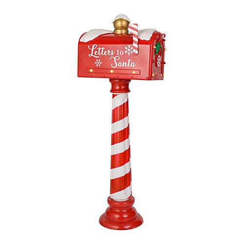Décoration de table de Noël, boîte aux lettres lumineuse à DEL, minuterie, 42po