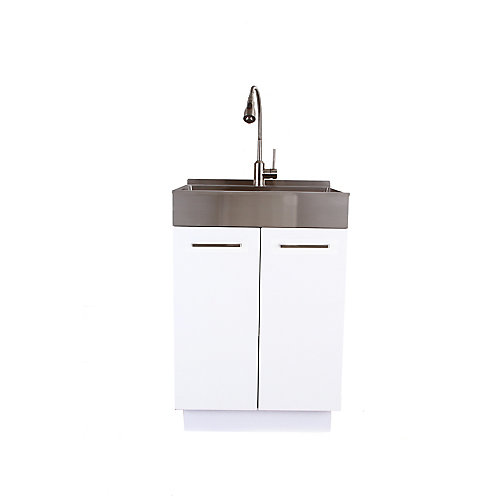 24 inch SS Front Apron Laundry Cabinet