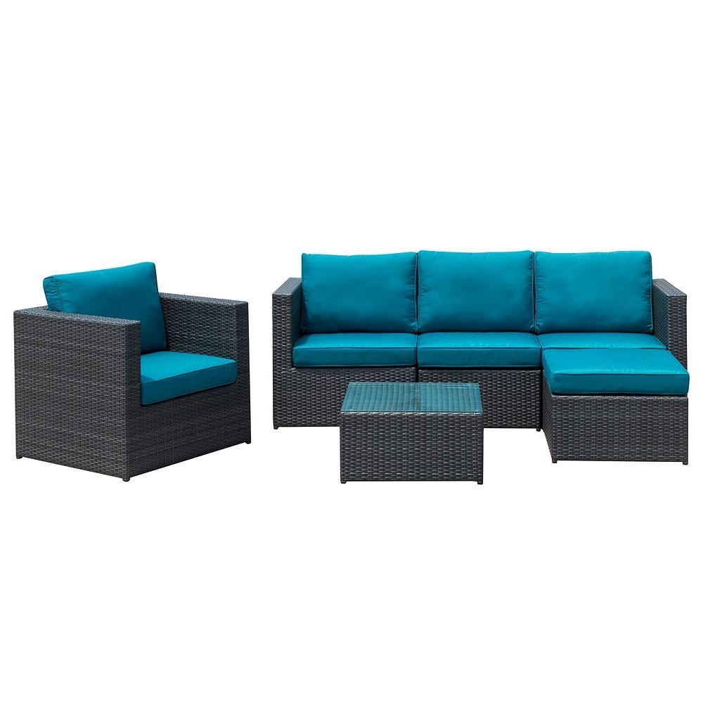 Sirio Ensemble modulaire de jardin avec fauteuil et table Dublin, bleu paon, 6 pièces